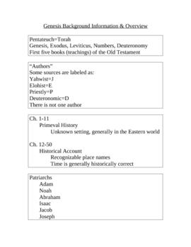 Genesis Background Information & Notes