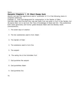 Genesis Chapters 1-35 Short Essay Quiz