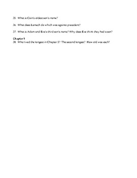 Genesis  Chapters 1-5  Open Book Scavenger Hunt and KEY (38q)
