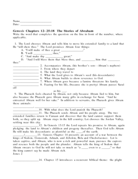 Genesis Chapters 12-25:18  The Stories of Abraham