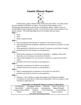 Genetic Disease Research Report / Powerpoint Presentation