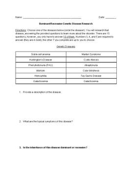 Genetic Disease Research worksheet