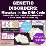 Genetic Disorders BUNDLE Mistakes in the DNA code, DNA mutations: PPt and WS