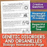 Genetic Disorders and Organelles Biology Homework Worksheet