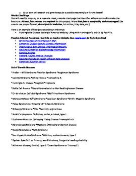 Genetic Dissorders Brochure Project