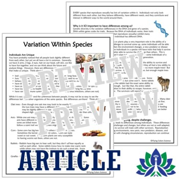 Natural Selection Activity:  Genetic Diversity Reading  NGSS MS-LS4-4