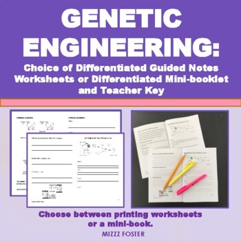 Genetic Engineering Worksheet with Answers, Interactive Notebook