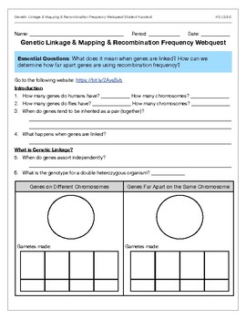 Genetic Linkage, Mapping, & Recombination Frequency Webquest LS3-2