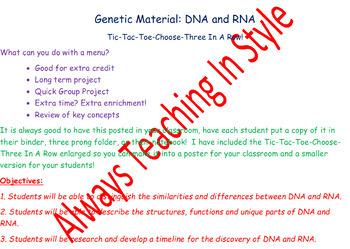 Genetic Material: DNA and RNA Tic-Tac-Toe-Choose Three In a Row Menu