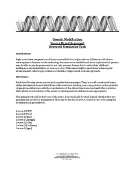 Genetic Modifications Synthesis Prompt - meets ELA standards