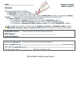 Genetic Mutations Worksheet by Smarty Pants Secondary ...
