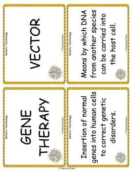 Genetic Technology Vocabulary Cards