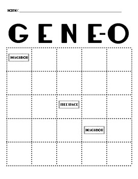 Genetic Traits Gene-O (Bingo Game)