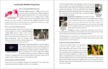 Genetically Modified Organisms - Science Reading Article - Grade 8 and Up