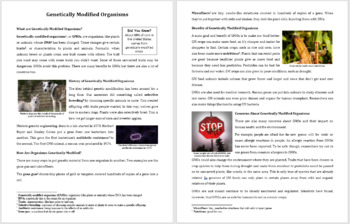 Genetically Modified Organisms - Science Reading Article - Grades 5-7