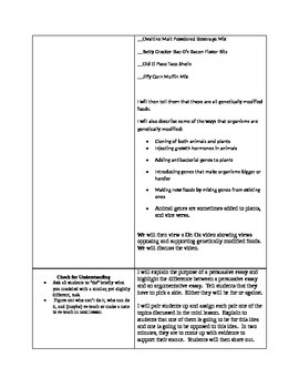 Genetically Modified foods lesson plan for an 80-90 minute period