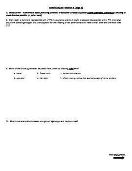 Genetics 4 Version Quiz w/Pretest, Post-test, Notes, Study Guide, & Key