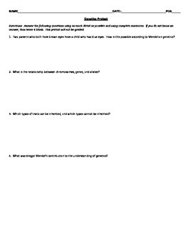 genetics questions and answers pdf