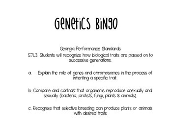 Genetics Bingo Life Science DNA Heredity