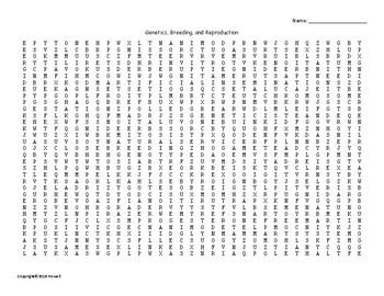Genetics, Breeding, and Reproduction Word Search for Ag. Science Students