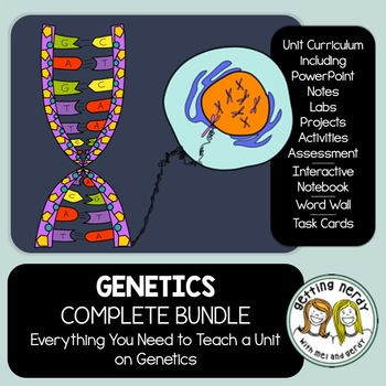 Genetics - PowerPoint, Handouts, INB, Task Cards, Word Wall