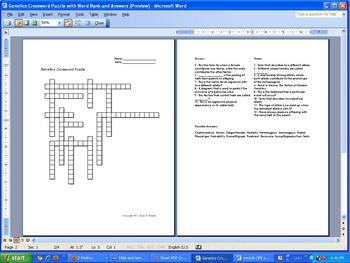 Genetics Crossword Puzzle 12 Clues With Word Bank And Answer Key