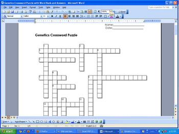Genetics Crossword Puzzle (12 clues) with Word Bank and Answer Key