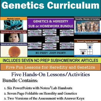 Genetics Curriculum - Five Lessons & Seven Literacy Articles for Sub or Homework