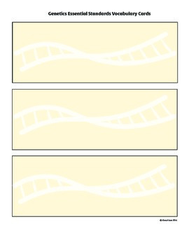 Genetics Essential Standards Vocabulary Cards