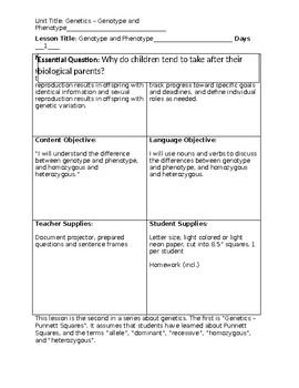 Genetics - Genotype and Phenotype