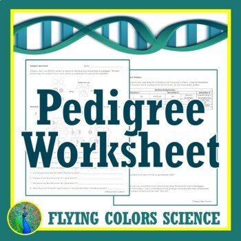 Genetics & Heredity - Pedigree Worksheet NGSS MS-LS3-2 HS-LS3-3