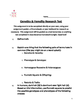 Genetics & Heredity Research Test
