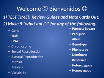 Genetics, Heredity, and Cellular Reproduction Review Powerpoint