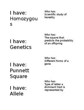 Genetics: I Have Who Has Vocabulary Practice
