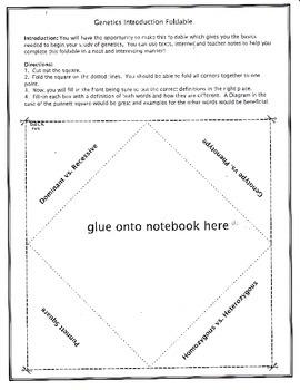 Genetics Introduction Foldable