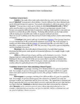 Genetics:  Introduction to Genetics