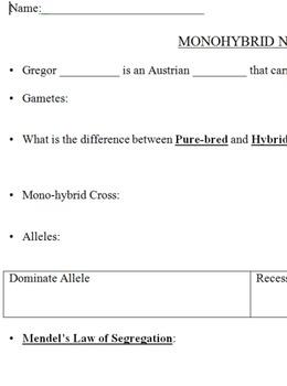 Genetics Monohybrid Cross Notes Page
