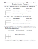 Genetics Monohybrid Punnett Square Practice Packet (24 Problems)