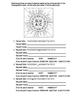 Genetic Mutations Worksheet Using a Codon Chart by The ...