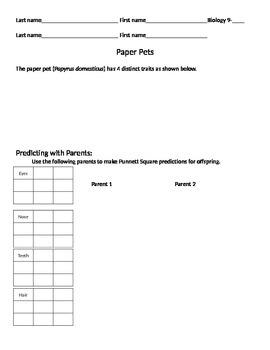 Genetics:  Paper Pets