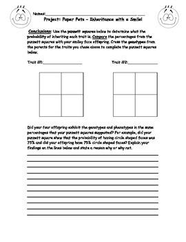 Genetics - Paper Pets Project - Punnet Square for MIddle School