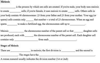 Genetics Part D - Cell Division