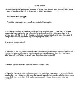 Genetics Practice Problem Set #1