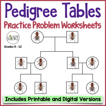 genetics practice problems pedigree tables by amy brown science. Black Bedroom Furniture Sets. Home Design Ideas