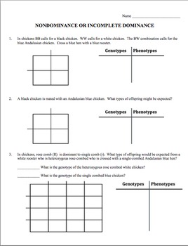 Practice Problems Worksheet: Incomplete Dominance (Nondominance)