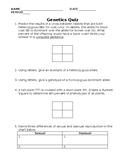 Genetics Quiz/Worksheet