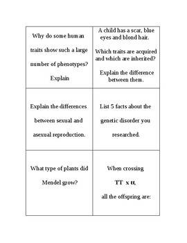 Genetics Review Cards to Cut out and Use