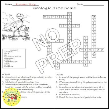 Geologic Time Scale Science Crossword Puzzle Coloring Worksheet Middle School