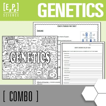 Genetics Seek & Find Doodle Page and Genetics Disorder Project  Combo