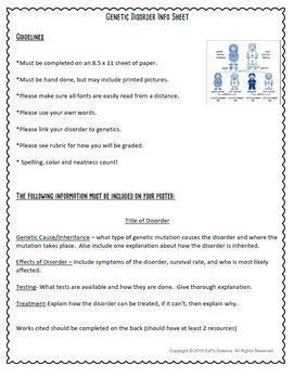 Genetics Seek and Find Science Doodle Page & Genetics Disorder Project  Combo